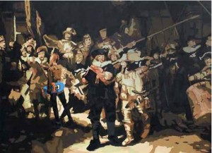 Kita Main Di Sana (Rembrandt and Me), 250x180cm,Acrylic on Canvas, 2009