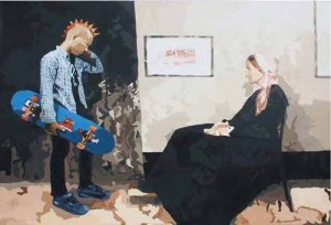 Inggih Bu (James Abbot McNeill Whistler and Me), 200 x 150cm, Acrylic on Canvas, 2009