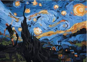 Ku Ambilkan 1 Bintang Untukmu (Vincent van Gogh and Me), 250 x 180cm, Acrylic on Canvas, 2009