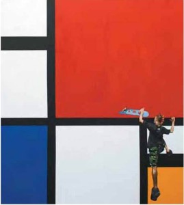 Go To The Red Zone (Piet Mondrian and Me), 180 x 160cm, Acrylic on Canvas, 2009