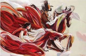 Erizal,around the world,225 x 160 cm,acrylic and pencil on canvas,2010