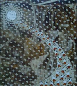 Nyoman S Kenyem, menuju bulan,145 x 135 cm, mixed media on canvas,2010