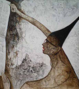 Sujarwo, reading the life,165 x 145 cm, mixed media on canvas,2011