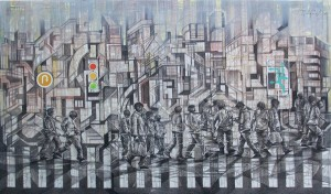 08, hiruk-pikuk ruang urban,mixed media,90x150cm,2012