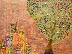 Rumah Pohon dan Gedung Bertingkat_150 x 200 cm_mixed media on canvas_2013