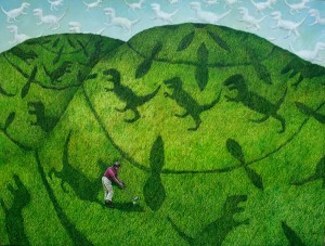 In  the Crop Circle, acrylic on canvas..2012