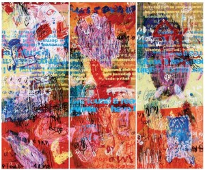 hey you#2, 150cmx180cm, 3panel, acrilyc,oilbar,permanent pen on canvas, 2012