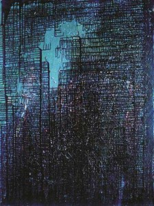 Sardono-W-Kusumo,-Blue-Square 160x120cm Oil on Canvas 2012