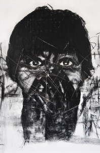 """A drop of tear"" #1 Charcoal on canvas. 190 x 137 cm. 2013"