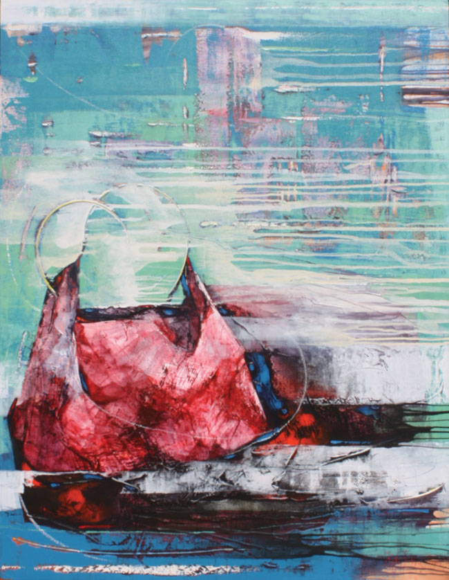 Red Bag in the city •  120 x 150cm • Acrylic on canvas •  2015