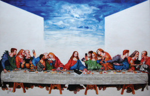 The Last E-Supper, 2015, 90x140cm, acrylic on canvas