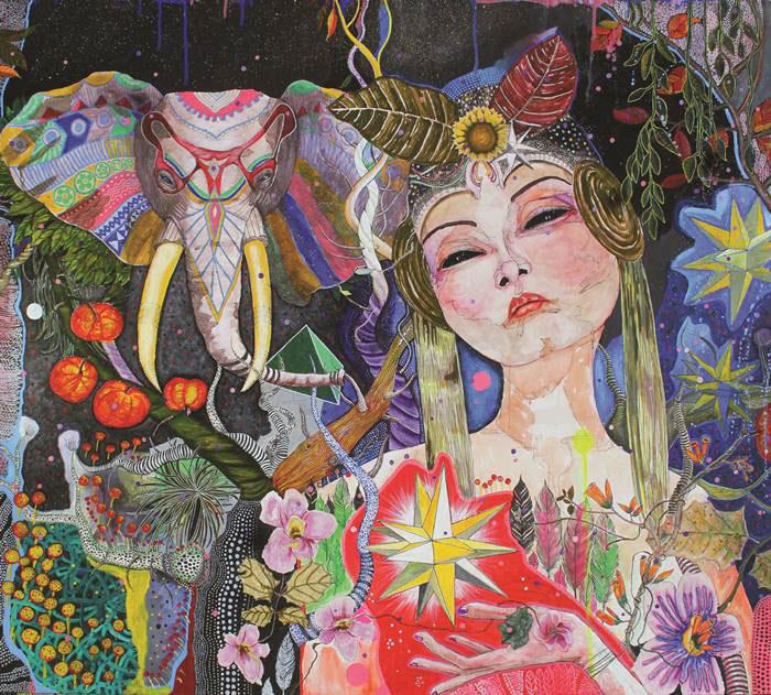 Utin Rini, Finding Glory, acrylic on canvas 160x180cm 2016