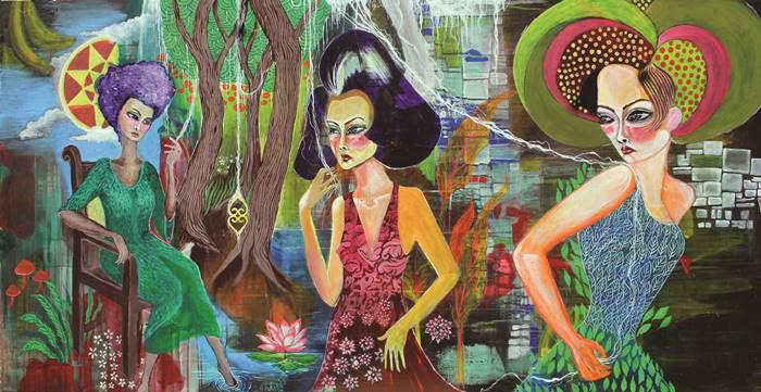 Utin Rini, Synchronicity of the XX, acrylic on canvas 100x200cm 2016